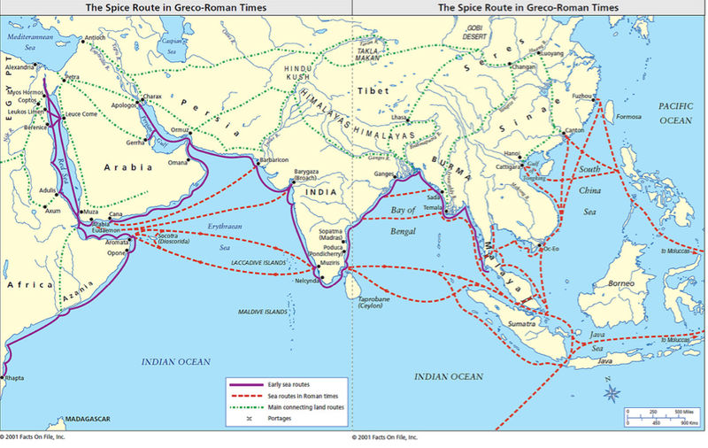 Map of when the trade route from Kerala to Yemen was one of the world's busiest, today that passage is just as important for oil shipments