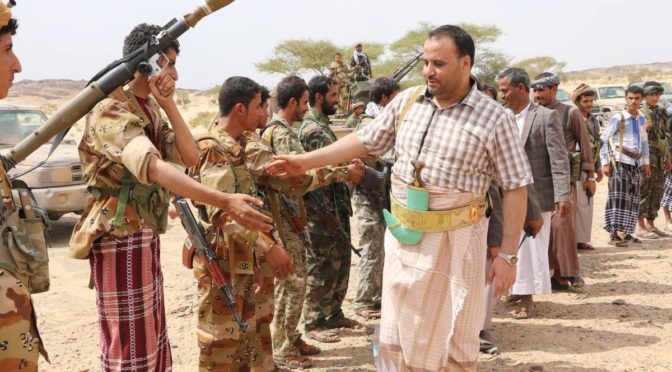Martyred former President of the National Salvation Government of Yemen, Saleh al Sammad, visiting his troops.