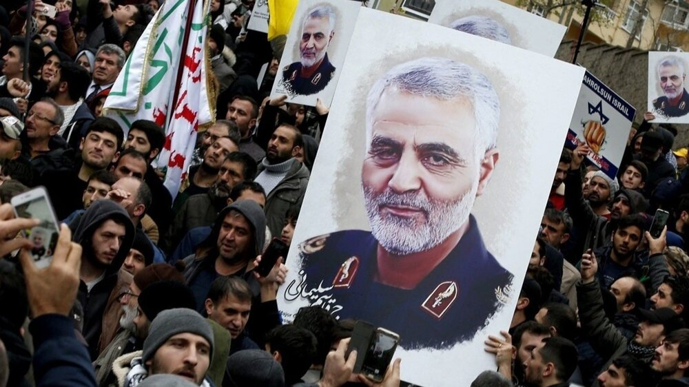 Protesters gather at a demonstration against the killing of Iranian General Qassem Soleimani near the U.S. consulate in Istanbul on Jan. 5.